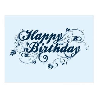 Happy Birthday Blue Swirls Postcard