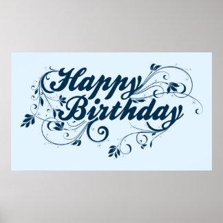 Happy Birthday Blue Swirls Poster