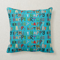 happy birthday blue throw pillow