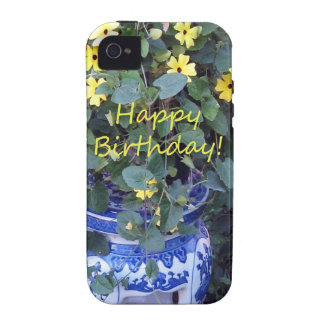 Happy Birthday Blue Yellow vine blue willow Case-Mate iPhone 4 Cases