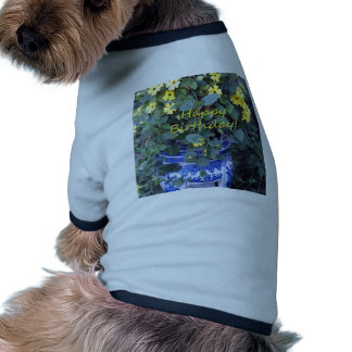 Happy Birthday Blue Yellow vine blue willow Dog Clothes