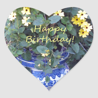 Happy Birthday Blue Yellow vine blue willow Heart Sticker