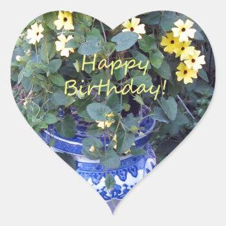 Happy Birthday Blue Yellow vine blue willow Heart Sticker