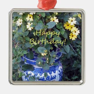 Happy Birthday Blue Yellow vine blue willow Metal Ornament