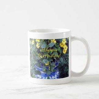 Happy Birthday Blue Yellow vine blue willow Mug