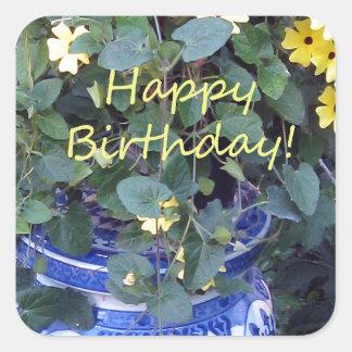 Happy Birthday Blue Yellow vine blue willow Sticker