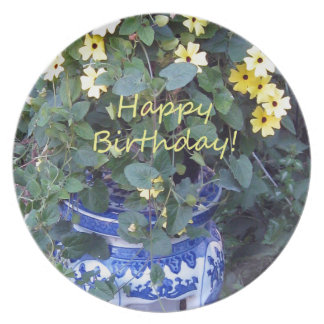 Happy Birthday Blue Yellow vine blue willow Plate
