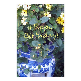 Happy Birthday Blue Yellow vine blue willow Stationery Design