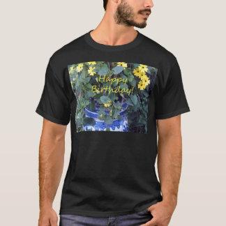 Happy Birthday Blue Yellow vine blue willow T-Shirt