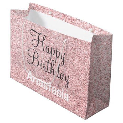 Happy Birthday Blush Pink Rose Gold Glitter Name Large Gift Bag