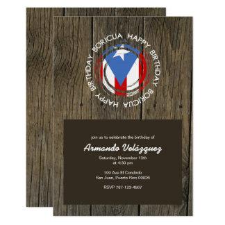 Happy Birthday Boricua Theme on Rustic Wood Card