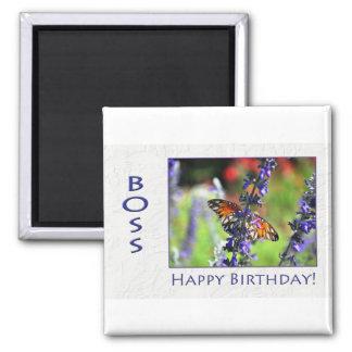 Happy Birthday Boss Flowers and Butterflies Fridge Magnet