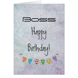 Happy Birthday Boss - Fr. All of us - Grunge/Flags Card