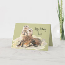 Happy Birthday Boss from Group of Cute Seals Card