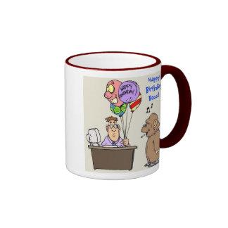 Happy Birthday Boss Ringer Mug