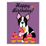 Happy Birthday! Boston Terrier Cupcakes Card