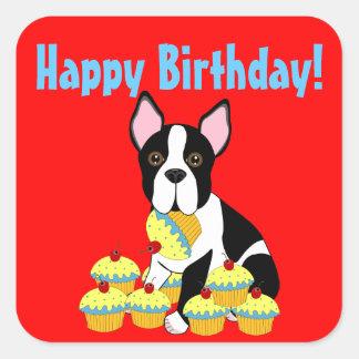 Happy Birthday Boston Terrier Cupcakes Stickers