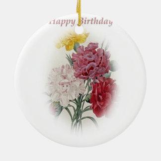 Happy Birthday Bouquet Ceramic Ornament
