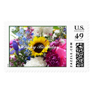 Happy Birthday Bouquet Postage