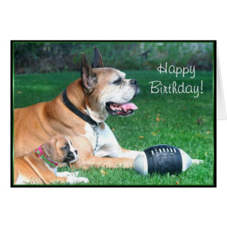 Happy Birthday Boxer dad and puppy greeting card