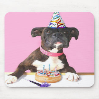 Happy Birthday Boxer dog mousepad