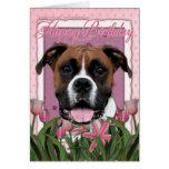 Happy Birthday - Boxer - Vindy Greeting Card