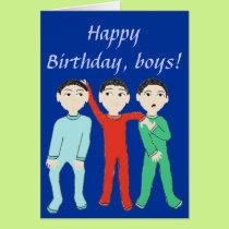 Happy Birthday, boys greeting Card