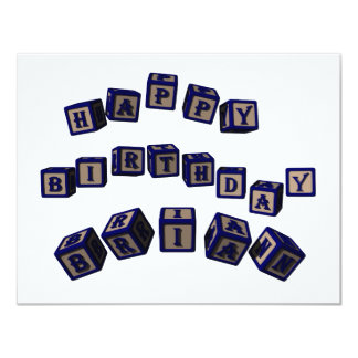 Happy Birthday Brian toy blocks in blue. Card