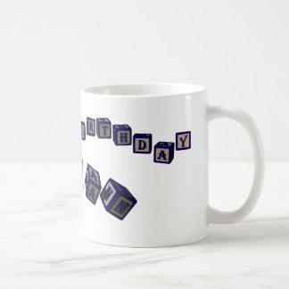 Happy Birthday Brian toy blocks in blue. Coffee Mug