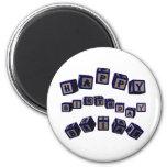 Happy Birthday Brian toy blocks in blue. Fridge Magnet
