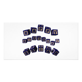 Happy Birthday Brian toy blocks in blue. Picture Card