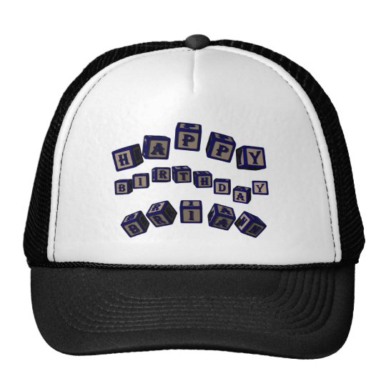 Happy Birthday Brian toy blocks in blue. Trucker Hat