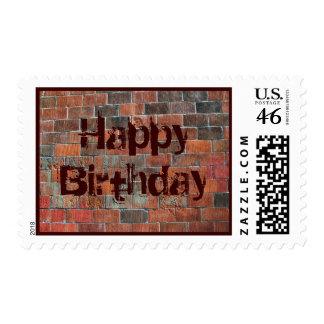 Happy Birthday brick wall Stamps