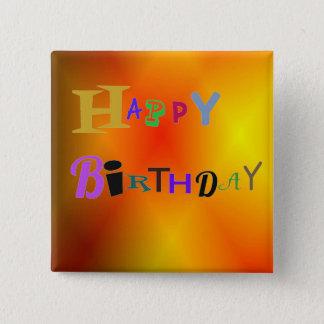 Happy Birthday Bright Burnt Orange Button