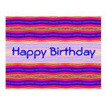 Happy Birthday bright pink blue Postcards