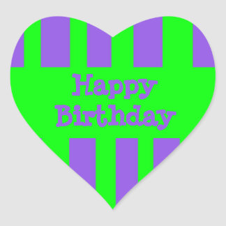 Happy Birthday bright stripes Heart Sticker