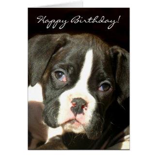 Happy Birthday Brindle boxer puppy greeting card