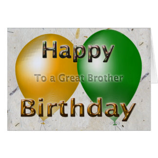 Happy Birthday Brother Balloons Greeting Card