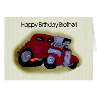 Happy Birthday Brother Car Greeting Cards