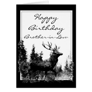 Happy Birthday Brother-in-Law Vintage Stag, Deer Card
