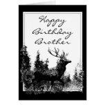 Happy Birthday Brother Vintage Stag, Deer Greeting Card