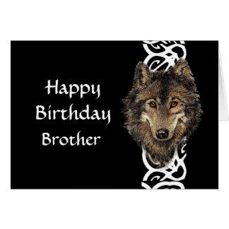 Happy Birthday Brother Wild Grey Wolf Head Card