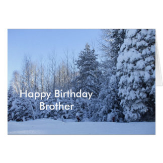 Happy Birthday Brother-winter morning tree scene Card