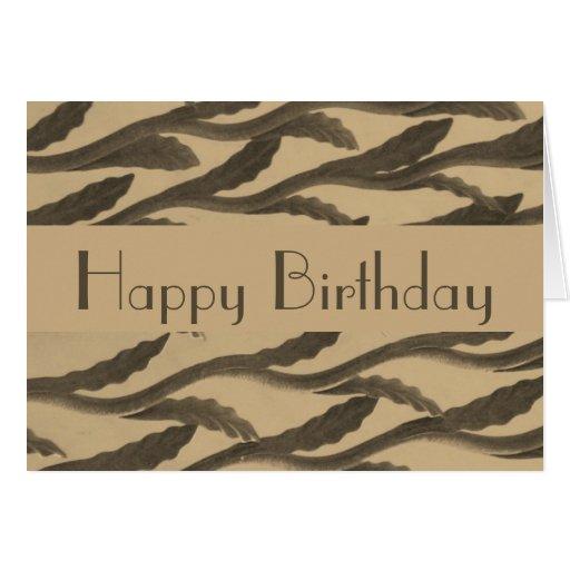 Happy Birthday brown biege branch pattern Greeting Cards