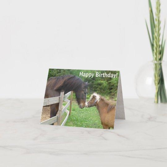 Happy Birthday Brown Miniature Draft Shire Horse Card