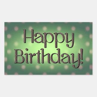 Happy Birthday Brown Polka Dot Text Green Bkgrd Rectangle Sticker