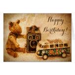 Happy Birthday brown wooden vintage toys camera Card