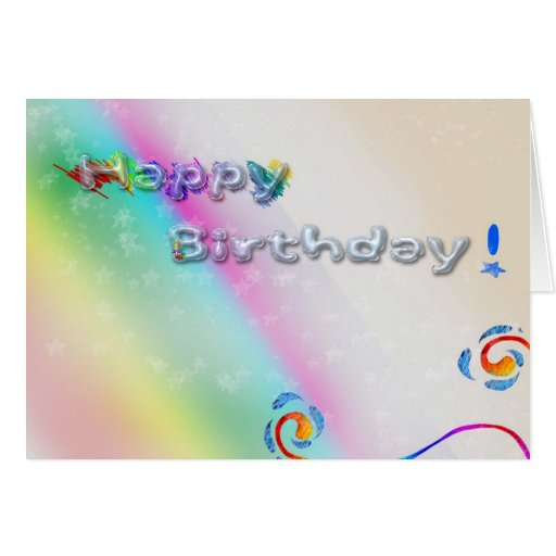 Happy Birthday Bubble Letter Rainbow Design Greeting Card