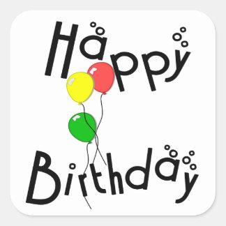Happy Birthday Bubbles - D7 Square Sticker