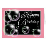 Happy Birthday Bubbles - Pink Greeting Card